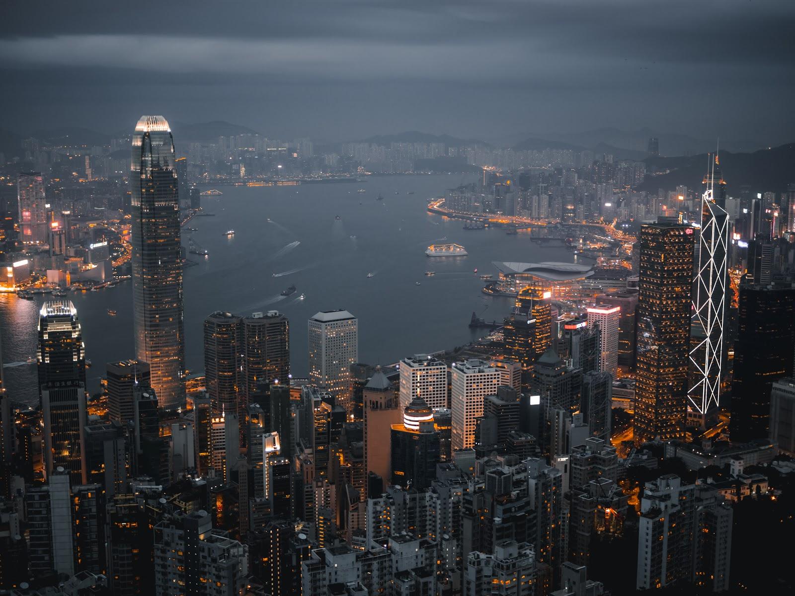 aerial view of expensive city hong kong