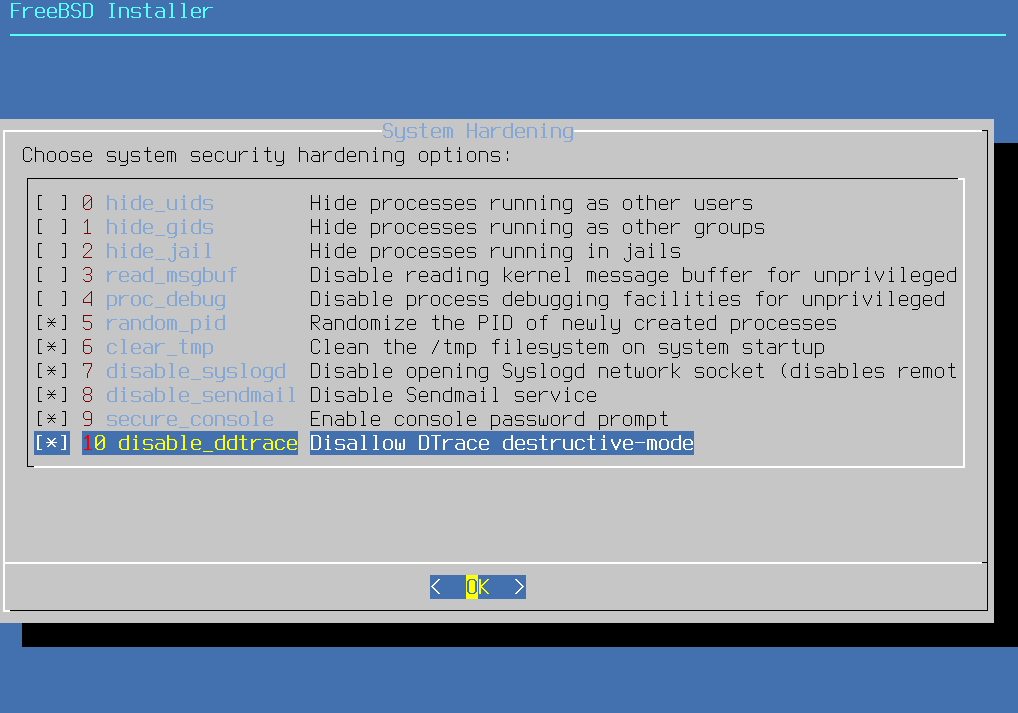 Install FreeBSD with KDE - System Hardening. Source: nudesystems.com
