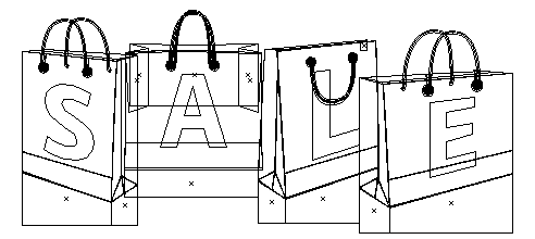 Shopping Bags Illustration Outline