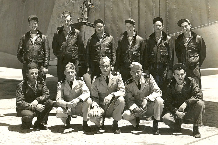 Crew before leaving Alameda for active duty in 1943; Baci at bottom left