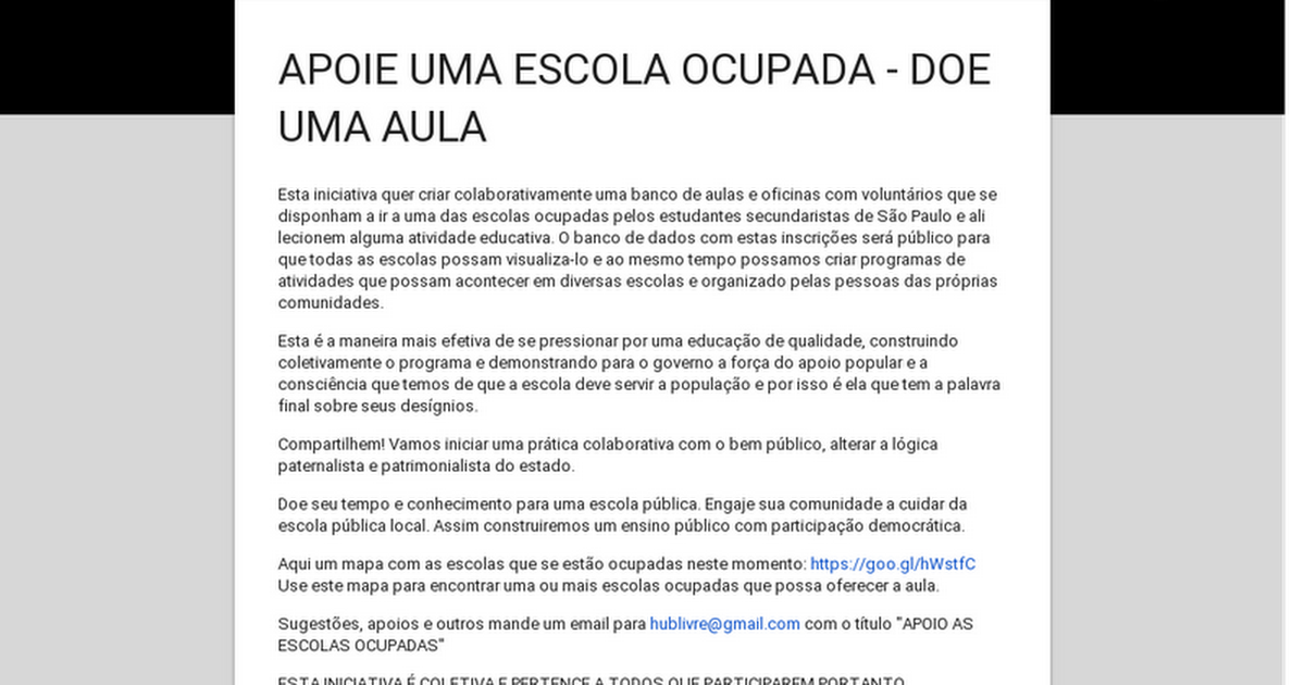 APOIE UMA ESCOLA OCUPADA - DOE UMA AULA