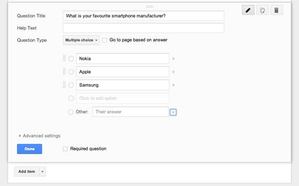 Nhiều lựa chọn trong Google form