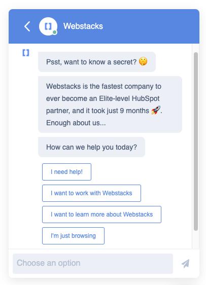 Conversational marketing example of a HubSpot chatbot built by Webstacks.