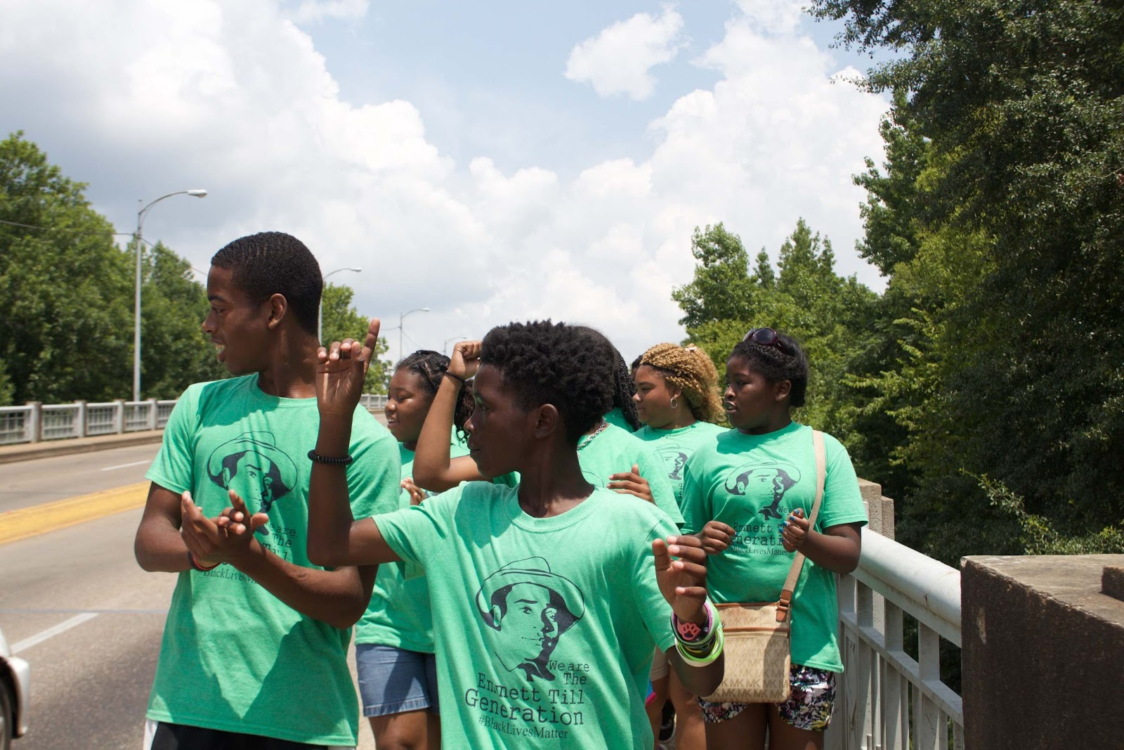 MFP and SCFP students, interns and staff spend the last three weeks of the summer on life-changing trips, here are students crossing the Edmund Pettus Bridge in Selma, Alabama