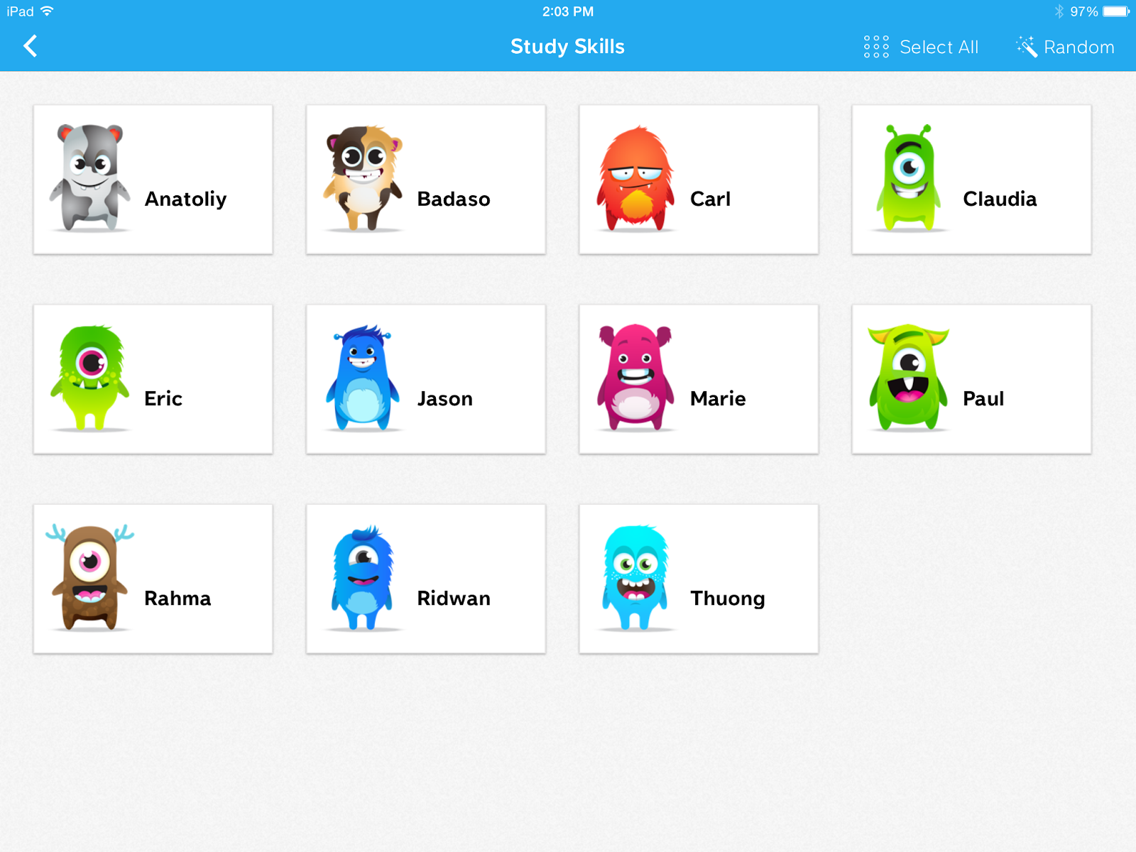 Class dojo class management system that uses avatars for students and