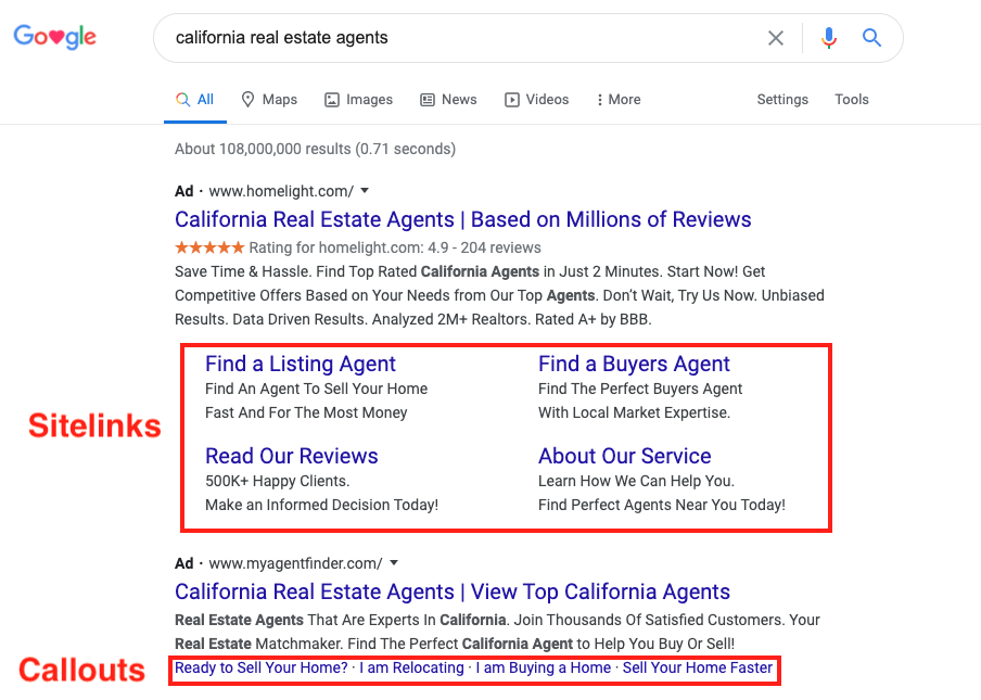 Examples of what Sitelinks and Callout extensions in an ad result look like