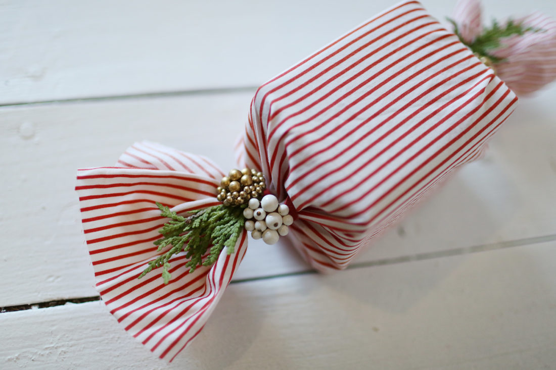 Image of zero waste fabric gift wrapped package