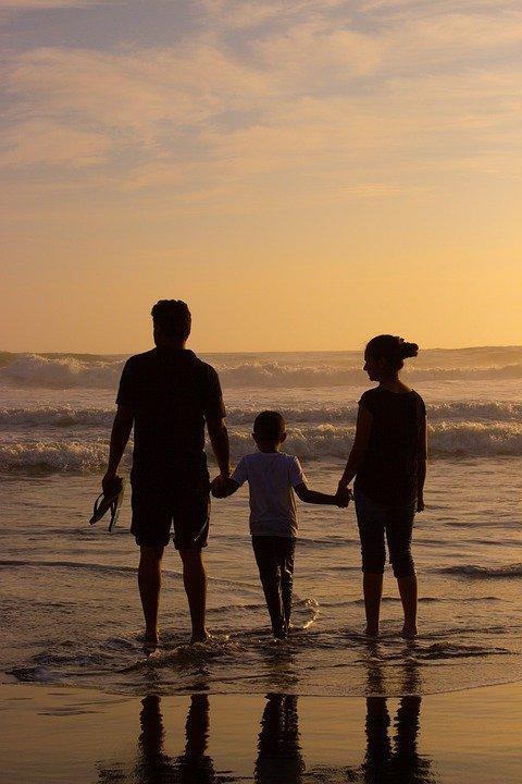 Пляж, Семья, Силуэты, Любовь, Пара, Ребенок