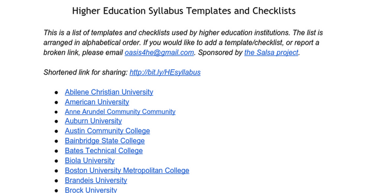 college syllabus template