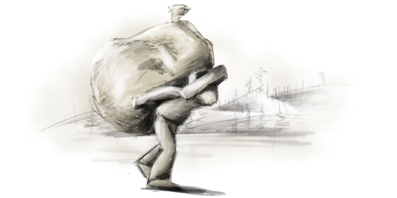 Hrdina je na ceste domov a na chrbte nesie obrovský vak s pokladom.