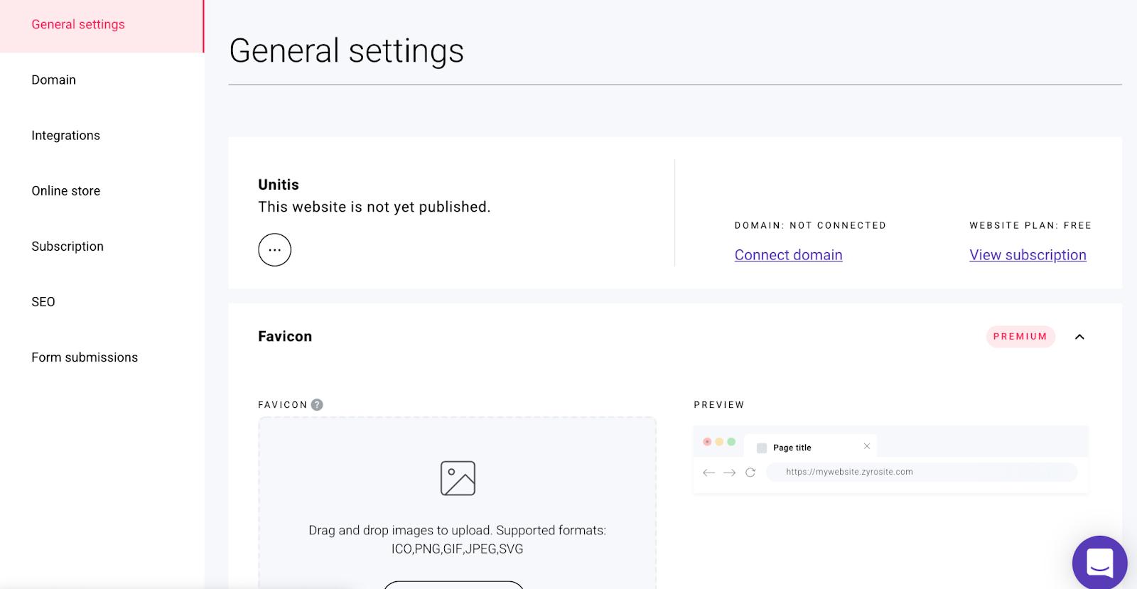 Zyro website settings favicon