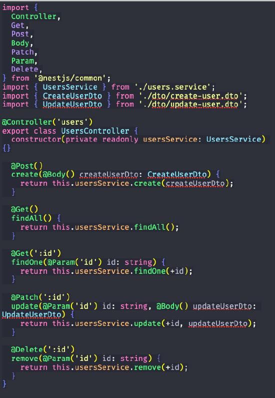 código com o controller gerado para REST API