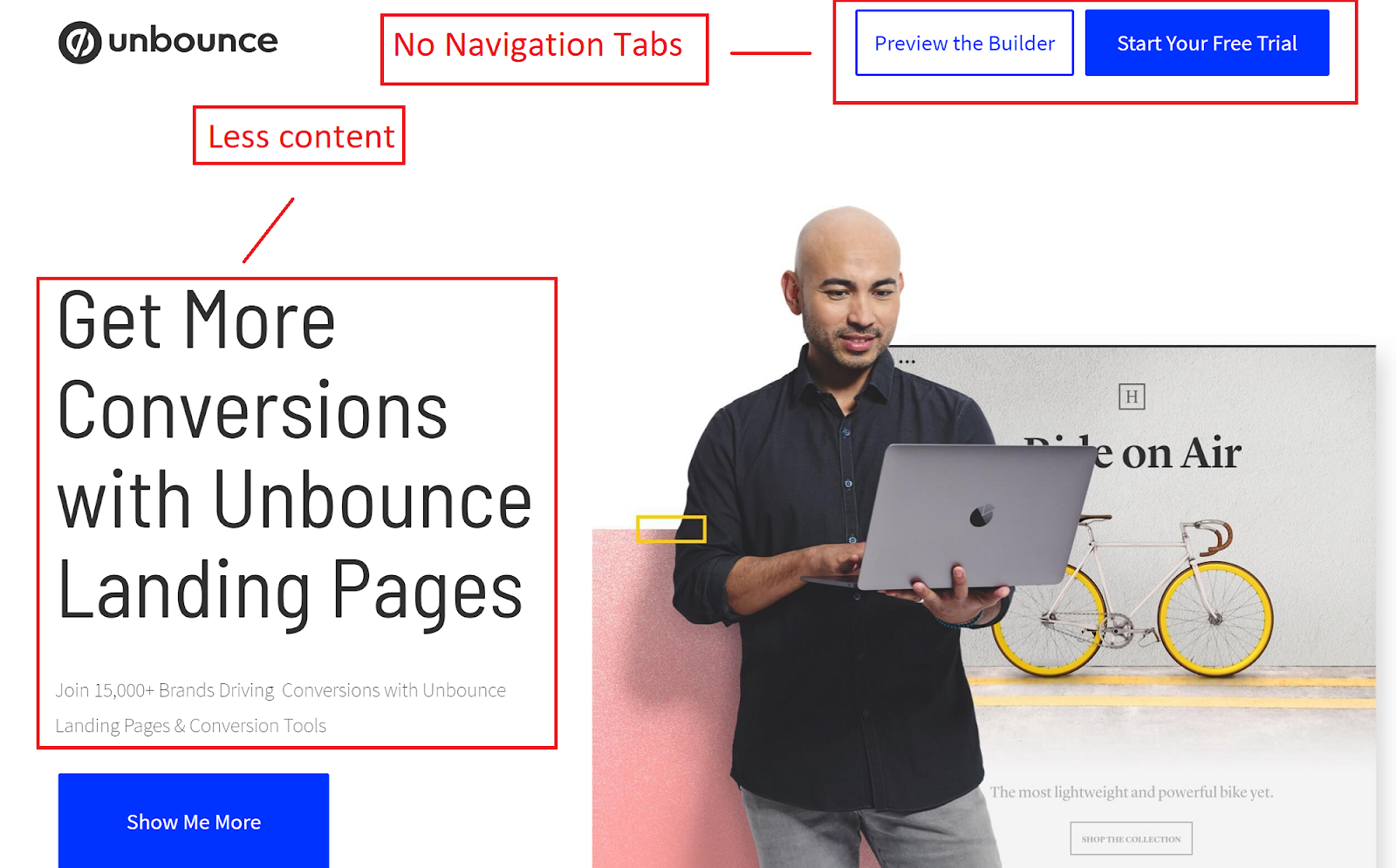 different elements of landing page