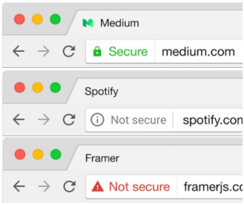 screenshot image of web browser bar showing secure in green letters and not secure alerts in red letters