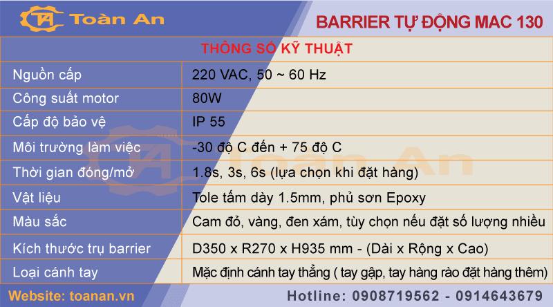 Thông số kỹ thuật của barrier tự động Mac 130