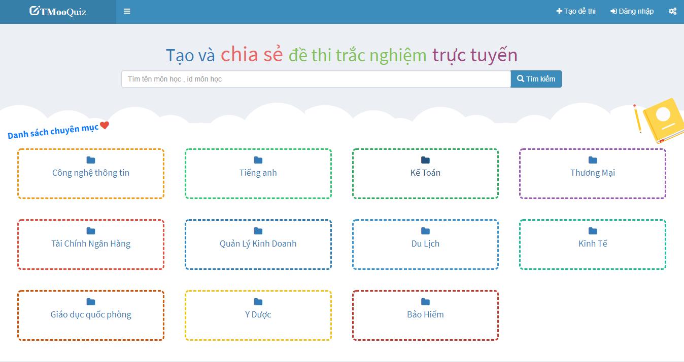 TMoo Quiz phần mềm thi trắc nghiệm trực tuyến