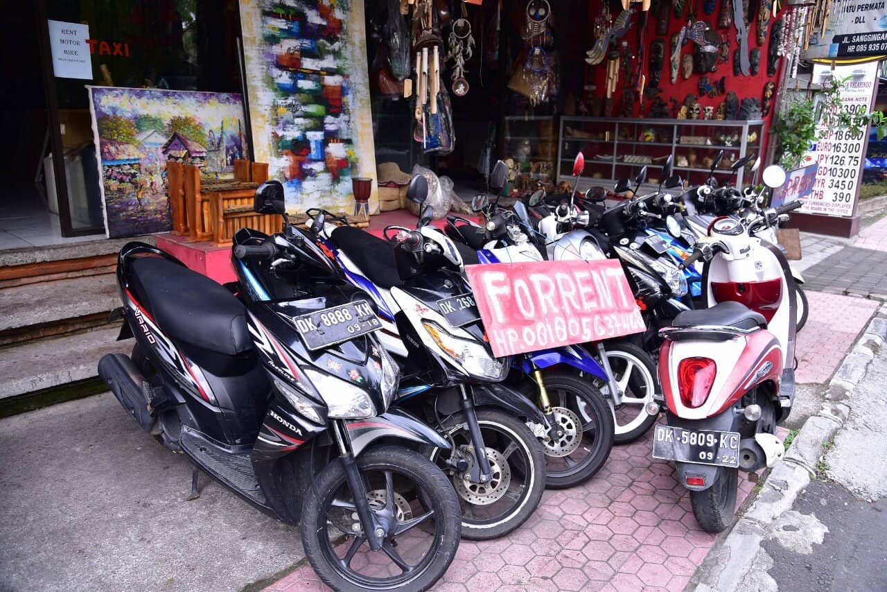 Bike is  also available on rents in Bali