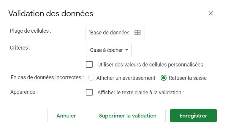 Validation des donnees-Google sheets