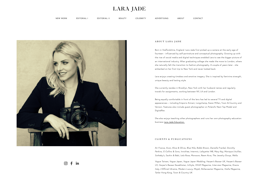 Screenshot of photography website design for Lara Jade