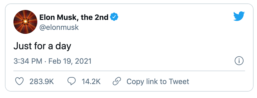 """Elon Musk tweets """"Just for a day"""" in regards to adding laser eyes to his Twitter profile photo."""