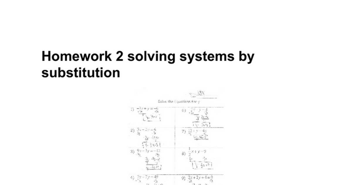 Homework 2 solving systems by substitution Google Docs – Solving Systems by Substitution Worksheet