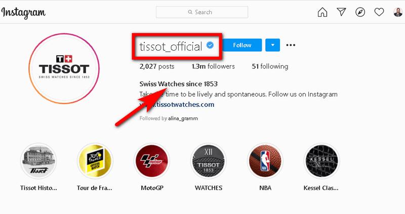 Tissot's Instagram bio