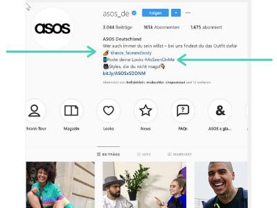 Verlinke in deinem Instagram Profil auf persönliche Hashtags und verlinke auf weitere Accounts