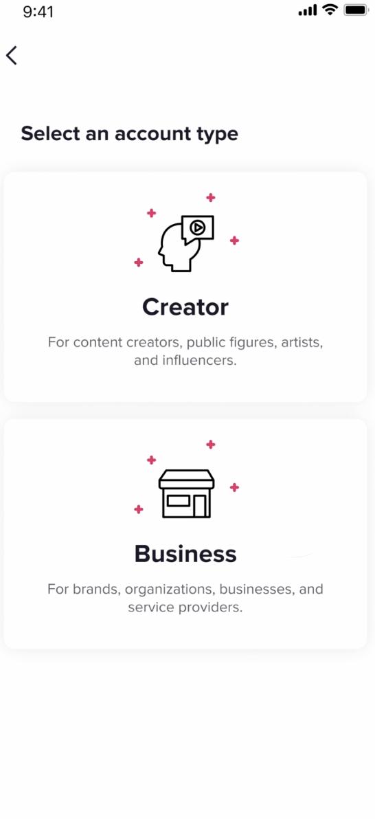 selecting Creator or Business on TikTok
