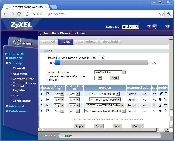 Zyxel Port Forwarding Rules summary page.