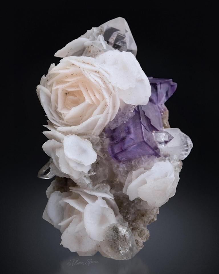rosette calcite with fluorite and quartz