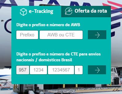 área de rastreio de encomendas no site da LATAM Cargo