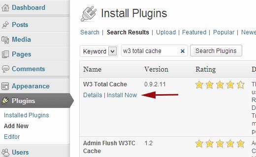 Cài đặt plugin W3 Total Cache cho WordPress