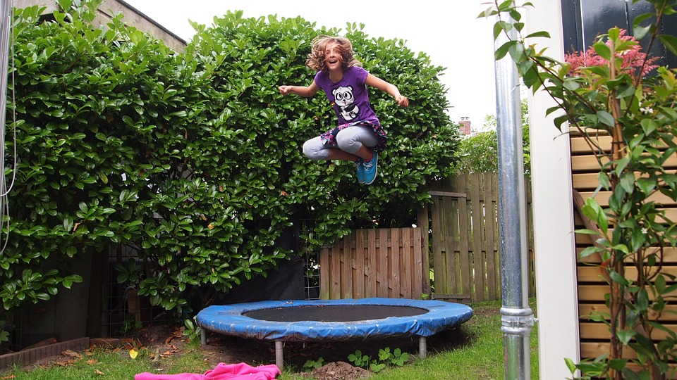 Girl, Jump, Trampoline, Outdoor, Garden, Shrubs, Up
