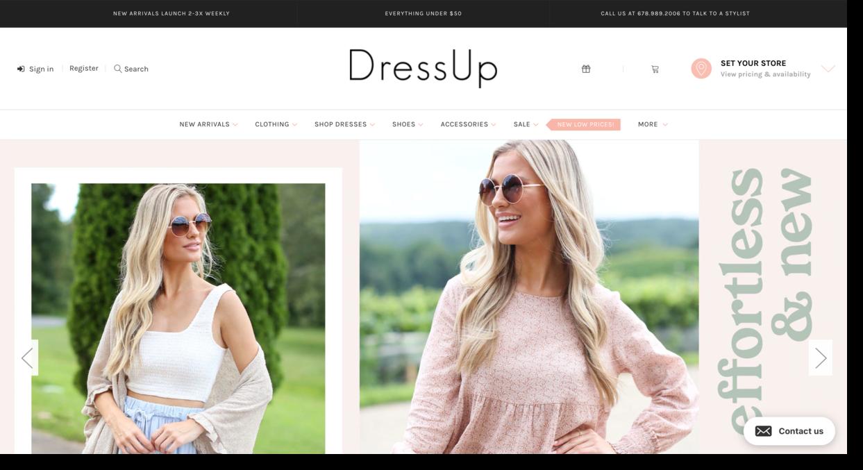 Dress Up website screenshot fashion retailer for women