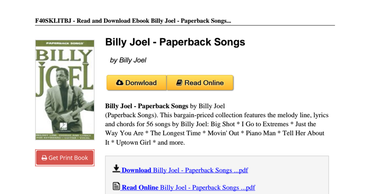 Billy Joel Paperback Songs 1423406923pdf Google Drive