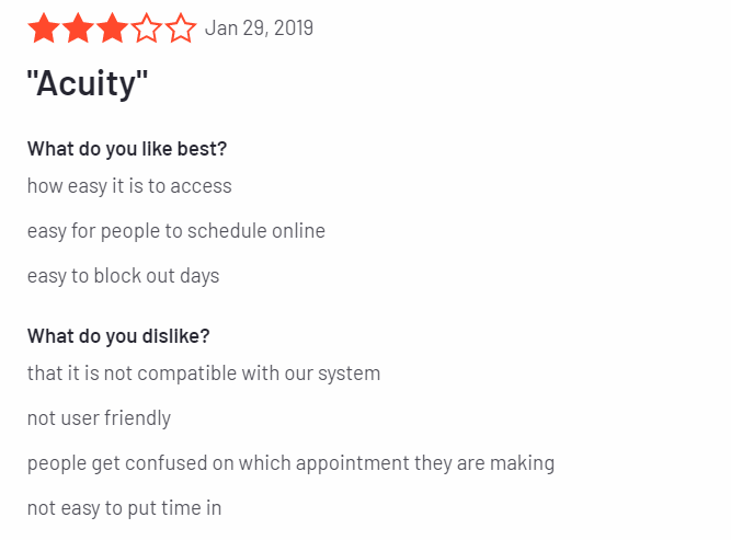 acuity scheduling review