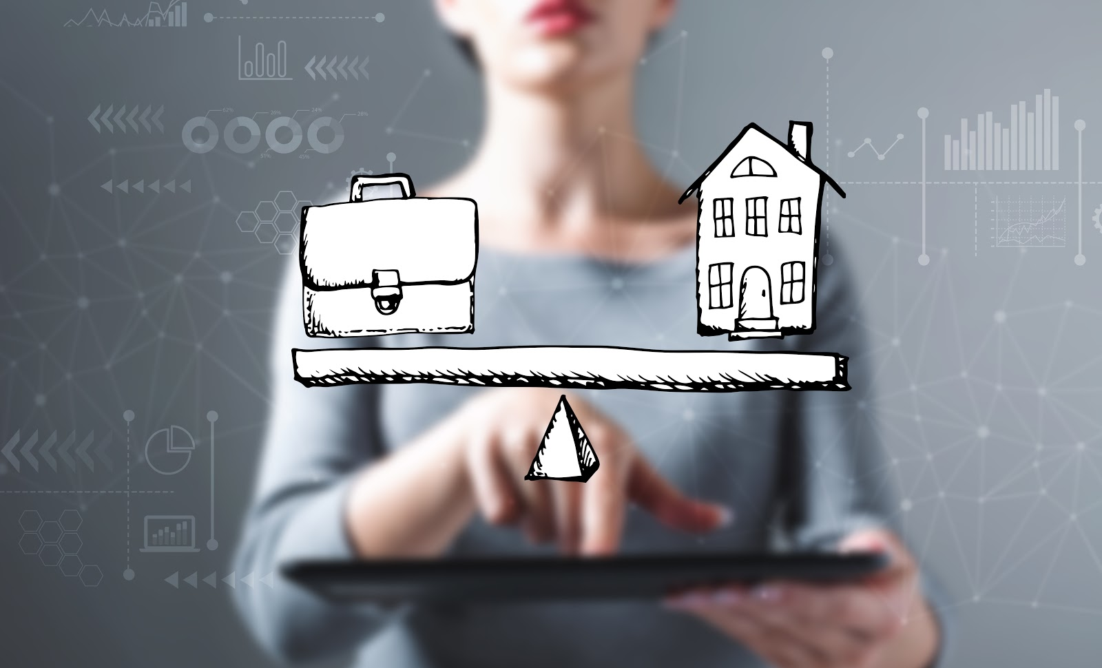Woman with an illustration in front of her, home and work balance