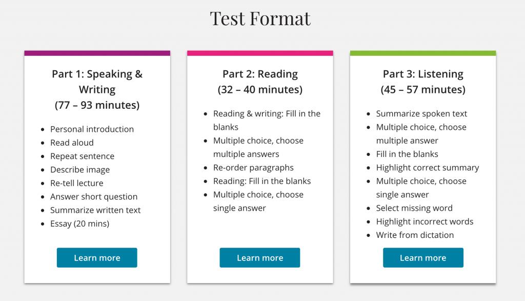 cấu trúc bài thi pte