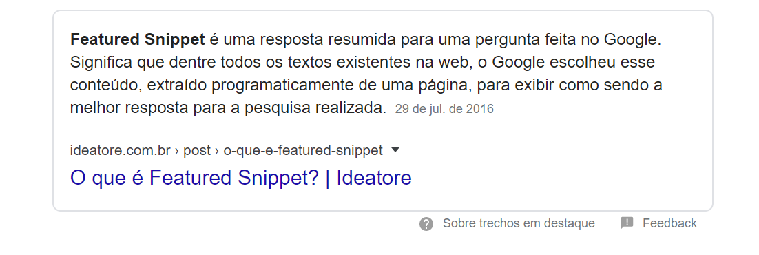 exemplo de featured snippets do Google
