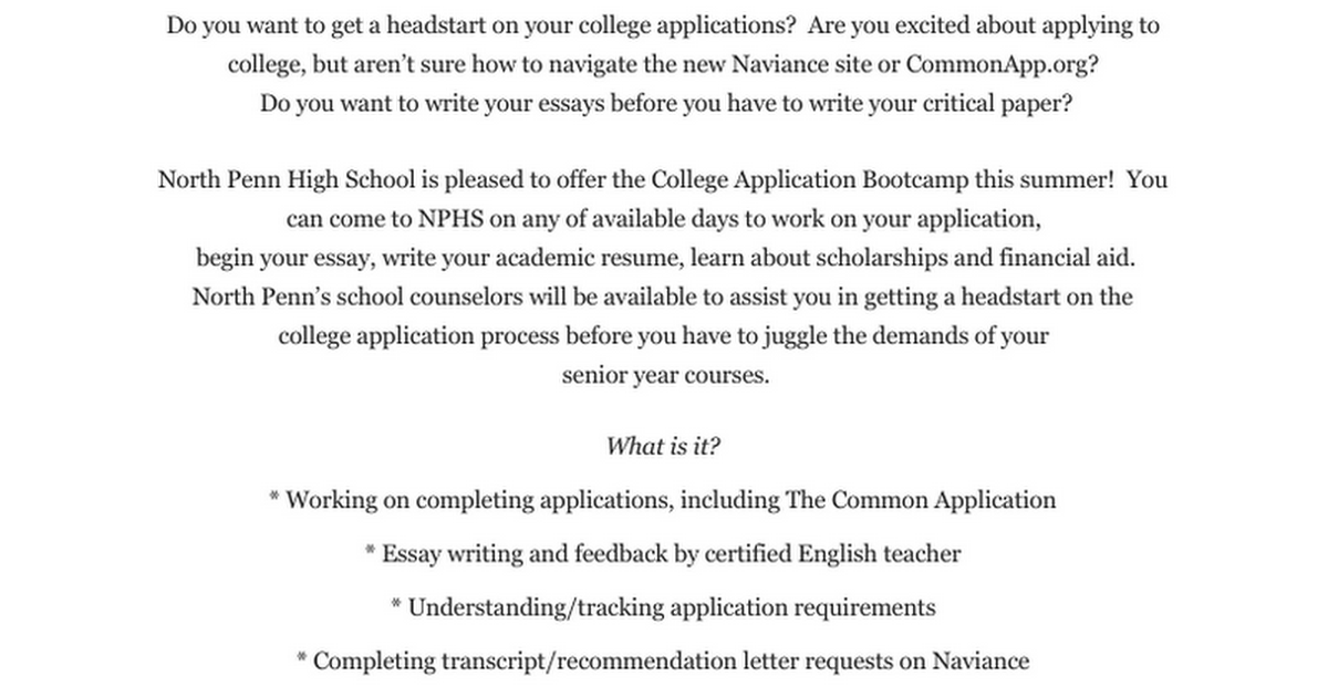 nphs college application bootcamp google docs