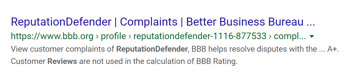 BBB Complaints on Google