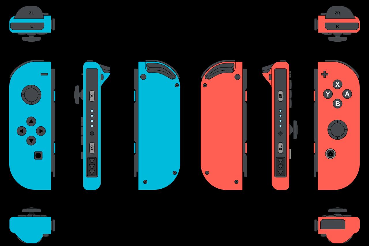 Deux manettes JoyCon bleue et rouge pour la Nintendo Switch vues de quatre angles différents
