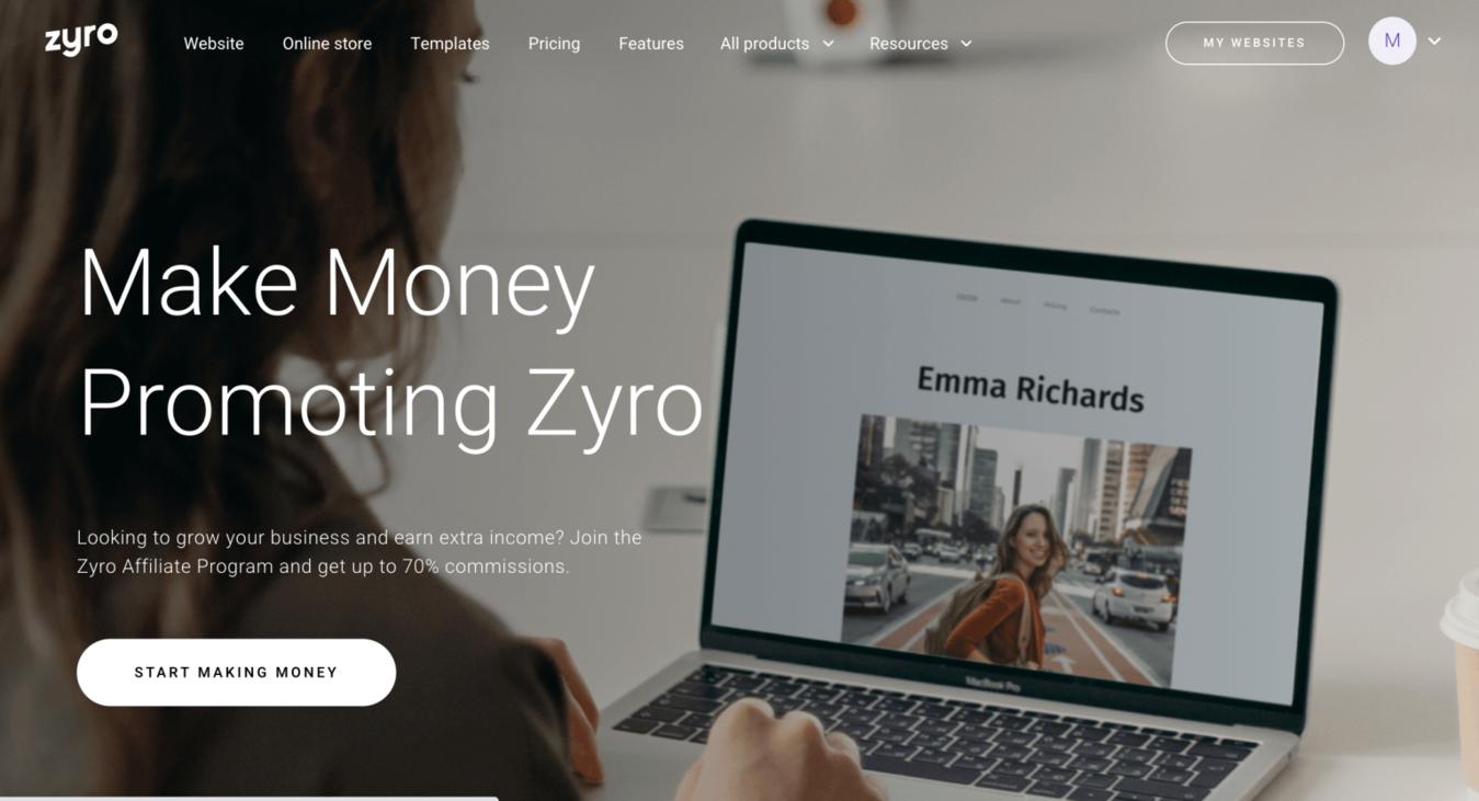 Zyro affiliate marketing landingspagina