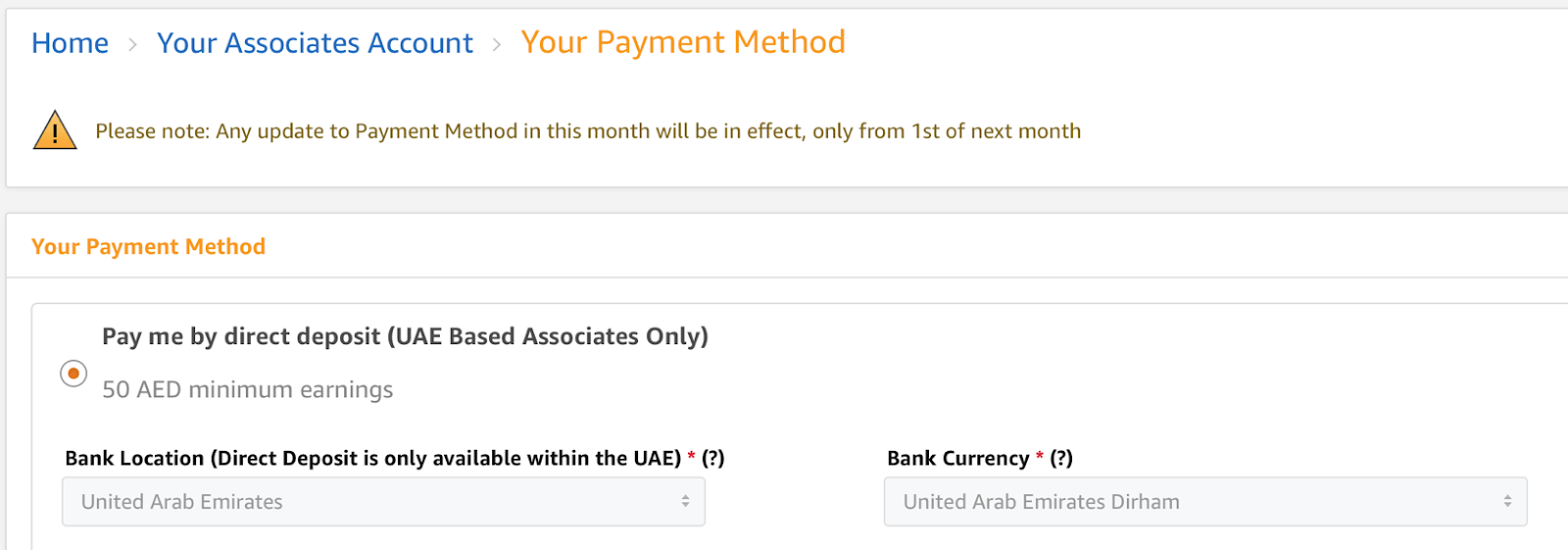 """Example of payment method. Picking """"Pay me by direct deposit (UAE Associates Only)"""