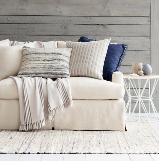 Blue and tan neutral rug