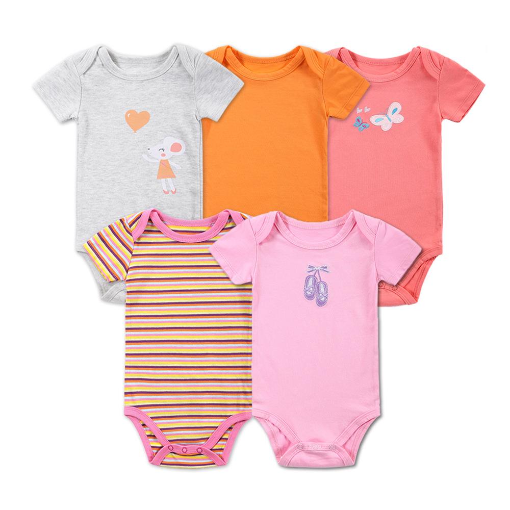 Body niemowlęce wielopak dla dziewczynki z krótkim rękawem