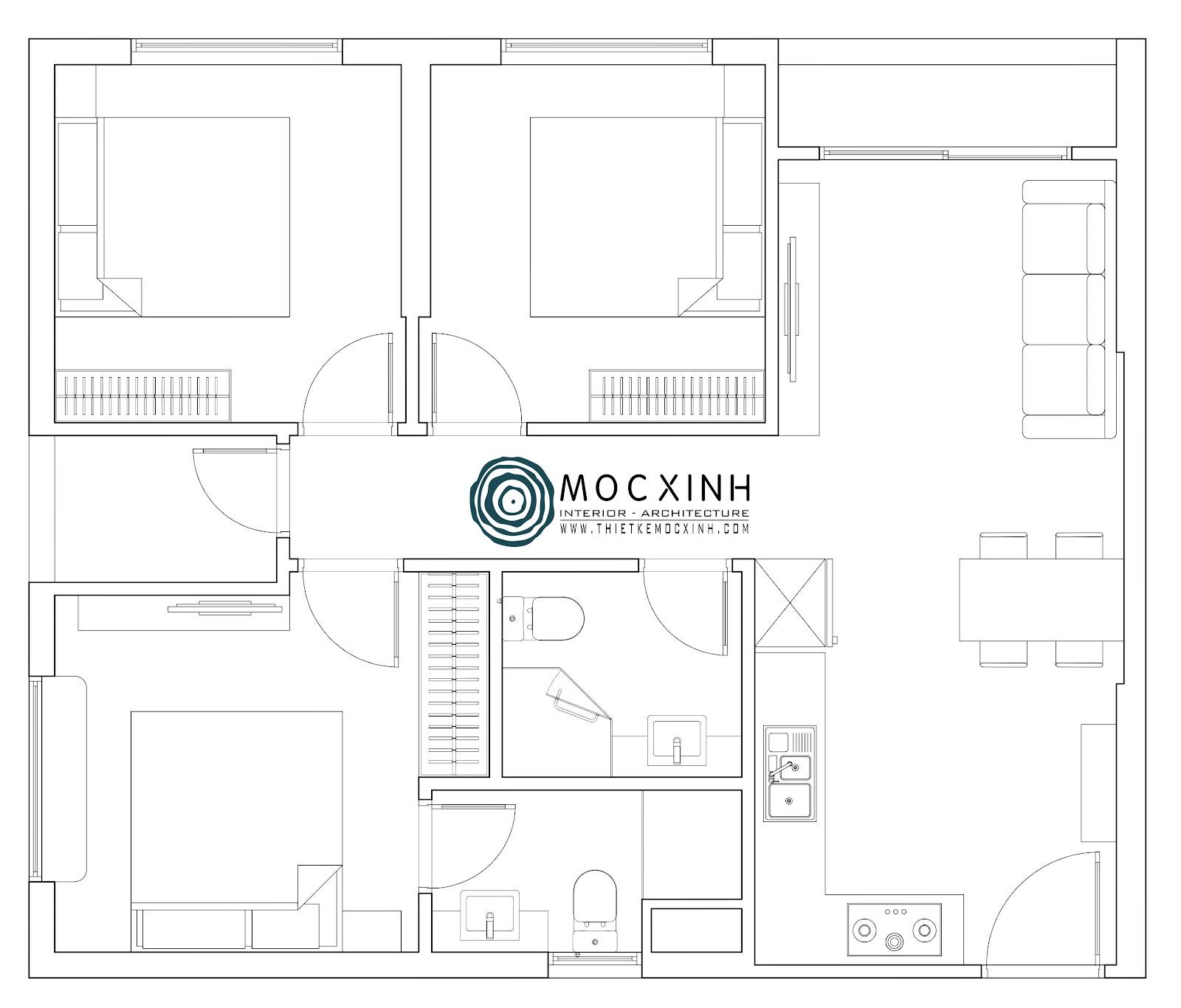 Bố trí mặt bằng căn hộ phù hợp không gian