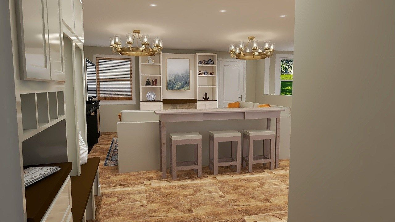 1970s ranch home renovation whole home design rendering open concept natural wood floors traditional lighting  mudroom entry