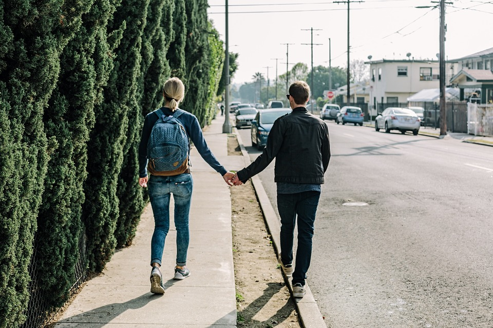 Couple, Holding Hands, Walking, Love
