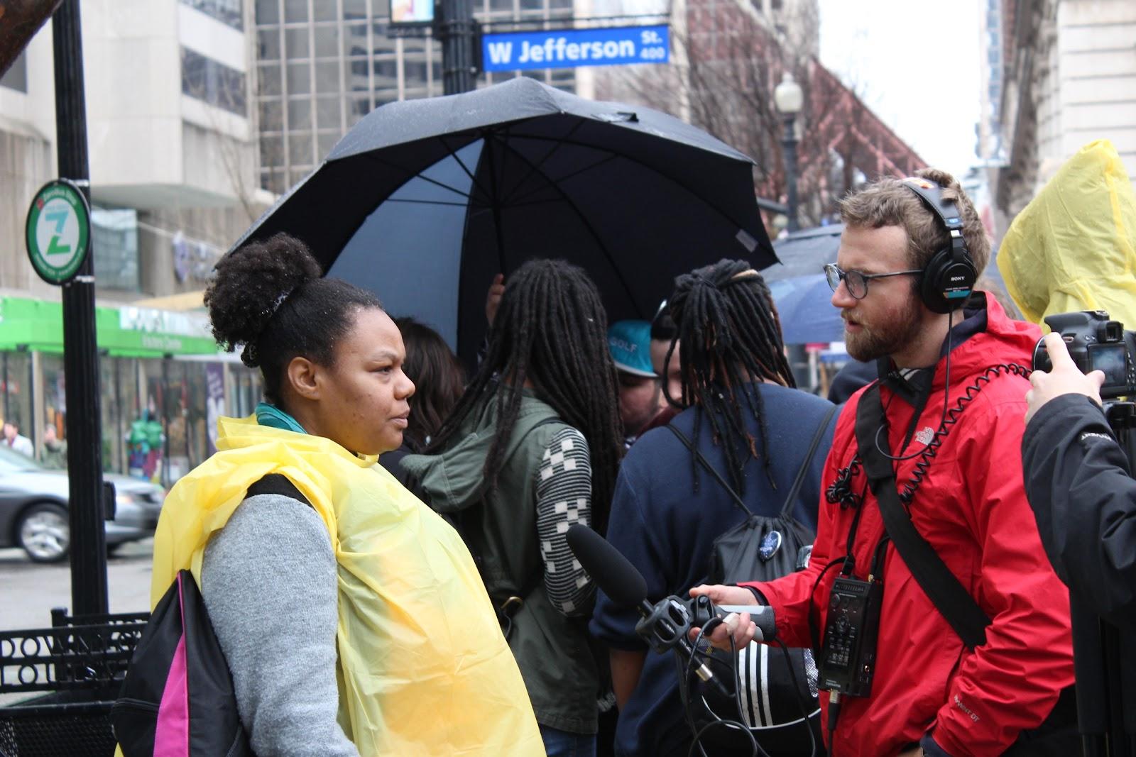 Black woman getting interviewed in Louisville
